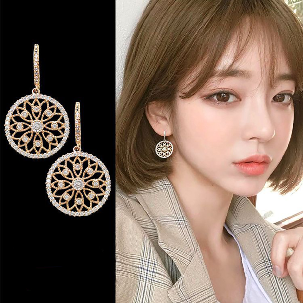 梨花HaNA 韓國925銀針細鑽雕花圓飾金飾耳環