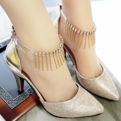 足的美形 流蘇水鑽繞腳鞋帶(A款)(1對)