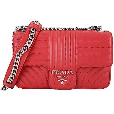 PRADA Diagramme 絎縫小牛皮肩背鍊帶包(大/紅色)