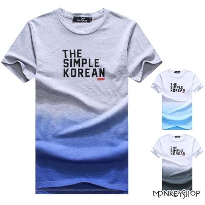 Monkey Shop 英文字母漸層印花圓領短袖T恤-3色