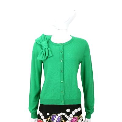 BOUTIQUE MOSCHINO 綠色蝴蝶結飾羊毛針織外套