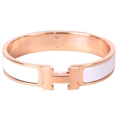 HERMES Clic H PM 經典LOGO設計手環(白色x玫瑰金)