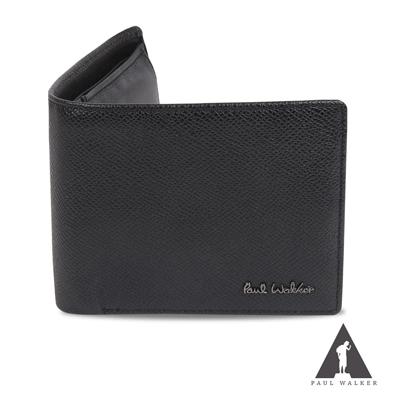 Paul Walker 捷克系列真皮石紋8卡上掀透明窗零錢袋男夾 黑