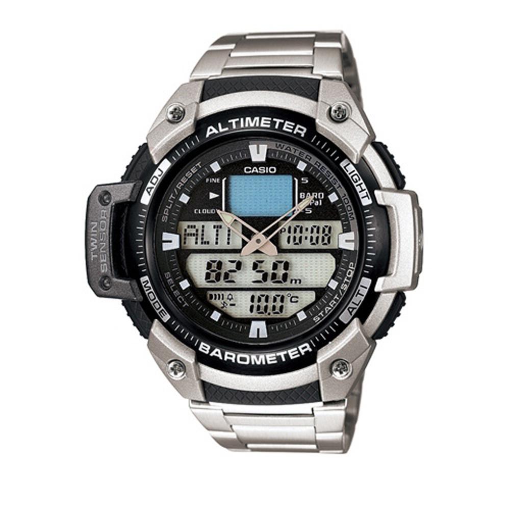 CASIO 新機能戶外雙顯不銹鋼運動錶(SGW-400HD-1B)/51.9mm