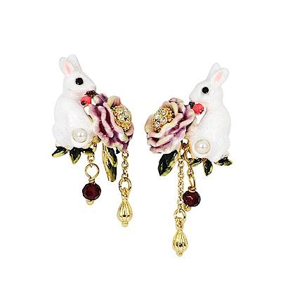 Les Nereides 動物花園系列 閃耀粉色花卉兔子鑲鑽耳環 耳針式