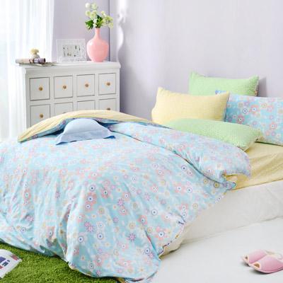 美夢元素 精梳棉薄被被套 雙人加大 柔花細雨 藍