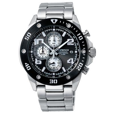 J.SPRINGS系列  伊斯坦堡三眼計時時尚腕錶-黑X銀/45mm