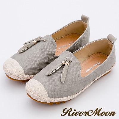 River&Moon樂福鞋-韓版撞色流蘇真皮麻編Q軟懶人便鞋-灰系