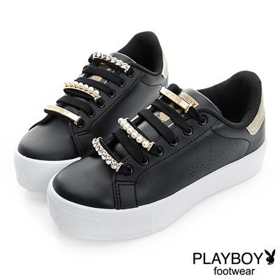 PLAYBOY 百變風格 可拆華麗鞋帶釦厚底鞋-黑(女)