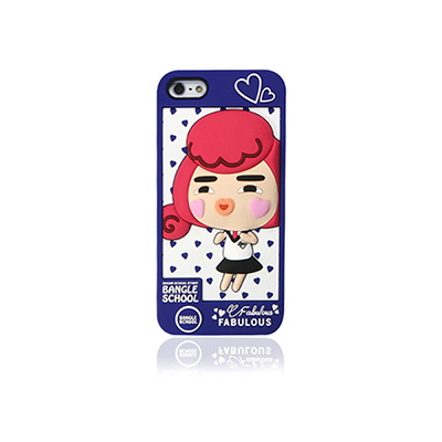 【摩達客】韓國Fabulous進口 愛心Yola深藍色3D矽膠保護套/iPhone5手機套