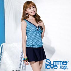 夏之戀SUMMERLOVE 藍色條紋長版兩件式泳衣