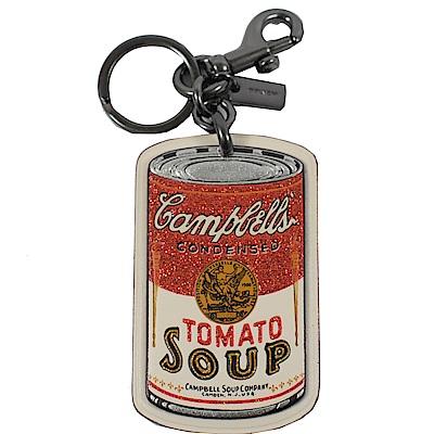 COACH 亮蔥裝飾罐頭造型鑰匙圈(白)
