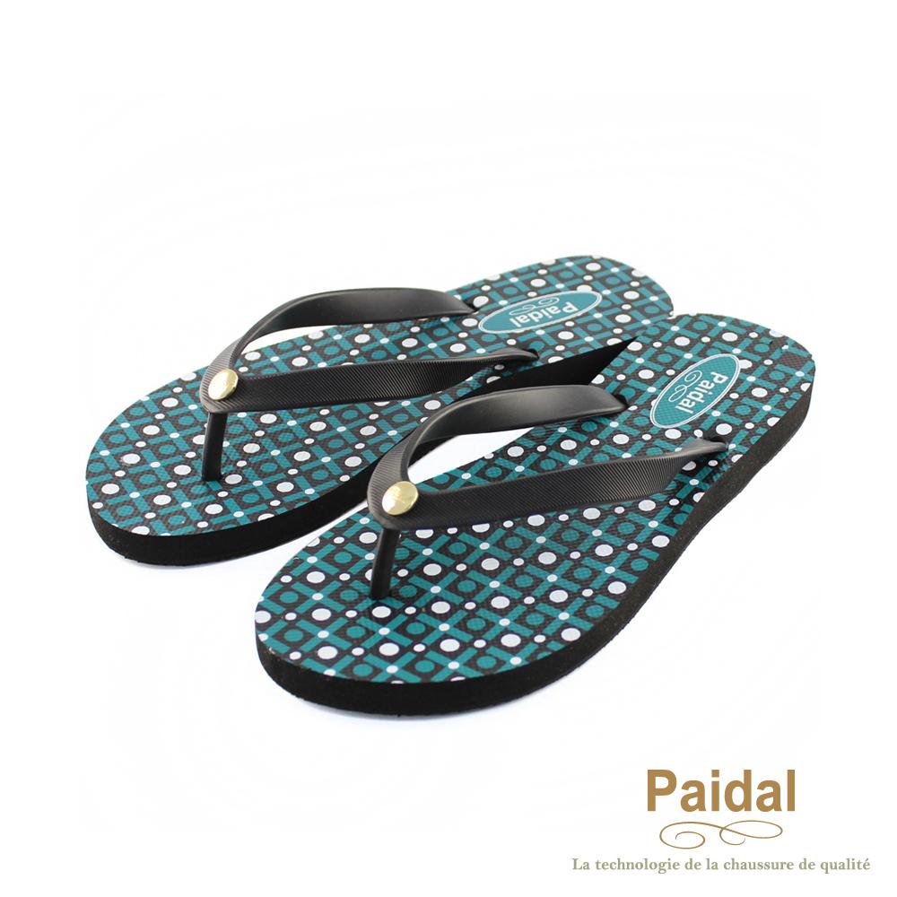 Paidal 時尚幾何海灘拖鞋人字拖鞋-綠