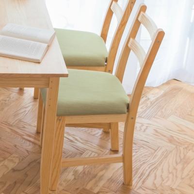 CiS自然行實木家具-北歐實木餐椅扁柏自然色抹茶綠椅墊
