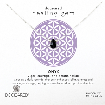 Dogeared 黑曜石瑪瑙銀項鍊Onyx Healing Gem附原廠禮盒