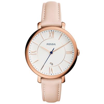FOSSIL 網羅質感日期時尚腕錶-玫瑰金框膚色皮帶/36mm