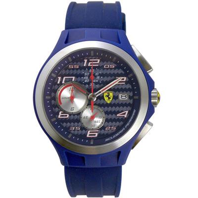 Scuderia Ferrari Black TR90 碳纖維三眼計時腕錶-藍/44mm
