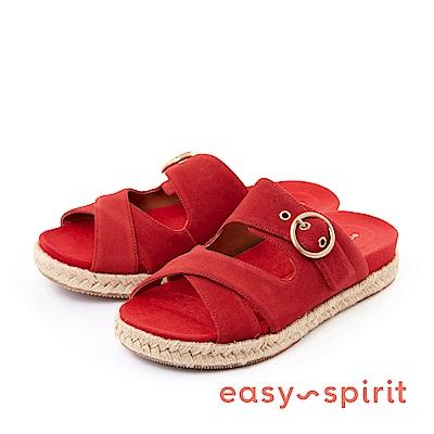 Easy Spirit--麂皮寬版交叉草編厚底涼鞋-迷人紅