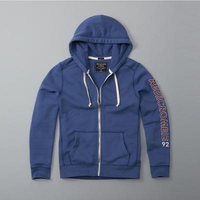 A&F 經典手臂文字連帽外套-藍色  AF Abercrombie