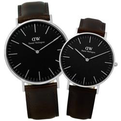 DW Daniel Wellington 旗艦真皮對錶-黑x深咖啡/40mm+36mm