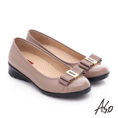 A.S.O 挺麗氣墊 鏡面牛皮蝴蝶結飾奈米氣墊鞋 卡其