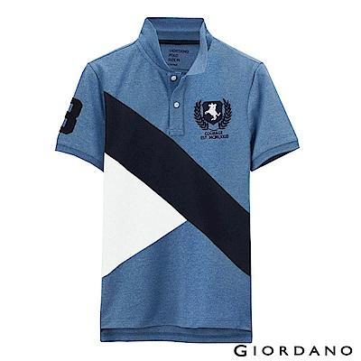 GIORDANO 男裝拿破崙刺繡徽章彈力棉POLO衫 - 11 花紗藍