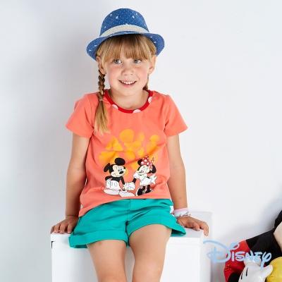 Disney 甜蜜牽手米奇米妮短袖上衣 粉橙