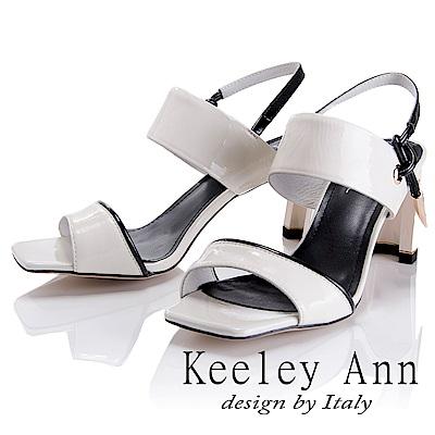 Keeley Ann 簡約美感~金屬墜飾漆皮質感中跟涼鞋(白色-Asin系列)