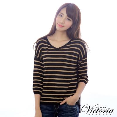 Victoria 條紋拼接雪紡七分袖線衫-女-黑咖條