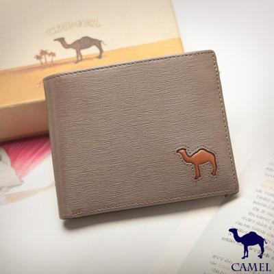 CAMEL - 西班牙經典真皮水波紋款可拆式6卡3照內拉鍊短夾-淺咖