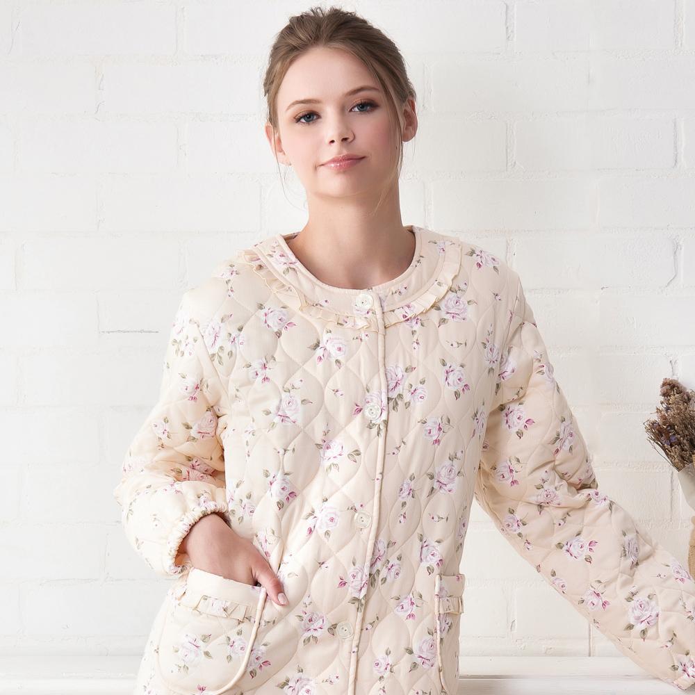 羅絲美睡衣 - 甜蜜玫瑰長袖保暖外袍(雅黃色)