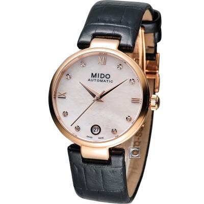 MIDO Belluna 優雅羅馬女伶機械錶-珍珠貝x玫瑰金框/33mm