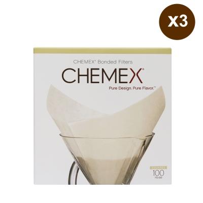 美國Chemex 咖啡濾壺專用濾紙100枚入X3組(3~6人份‧方形)
