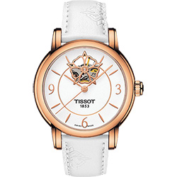 TISSOT Lady Heart 花朵鏤空機械腕錶-白x玫瑰金框/35mm