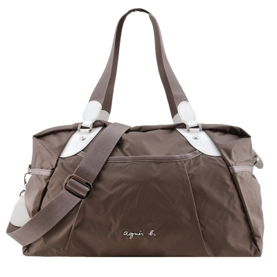 agnes b. VOYAGE金屬LOGO風衣料旅行袋(小/咖)