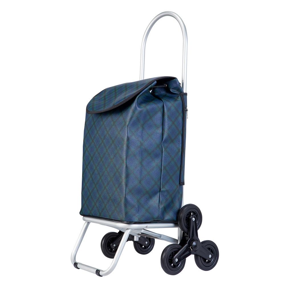 WEEY 台灣製造 折疊三輪購物車 買菜車 菜籃拉車可拆輪設計(深藍方格)29-025D3