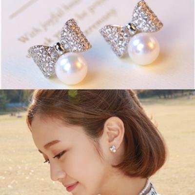 梨花HaNA  韓國925銀蝴蝶結小女人珍珠耳環精裝版