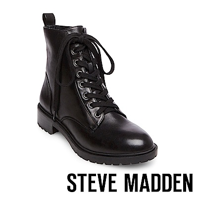 STEVE MADDEN-OFFICER 綁帶短筒靴-黑色