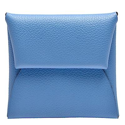 HERMES 經典Bastia山羊皮方型雙色暗釦零錢包(矢車菊藍X亮橘)