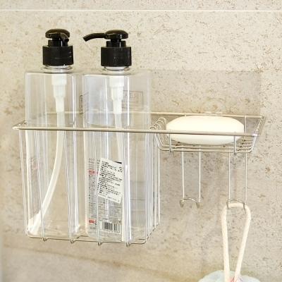 Home Feeling304不鏽鋼置物架/肥皂架/瓶罐架/霧面無痕貼24x9.5x11.5cm