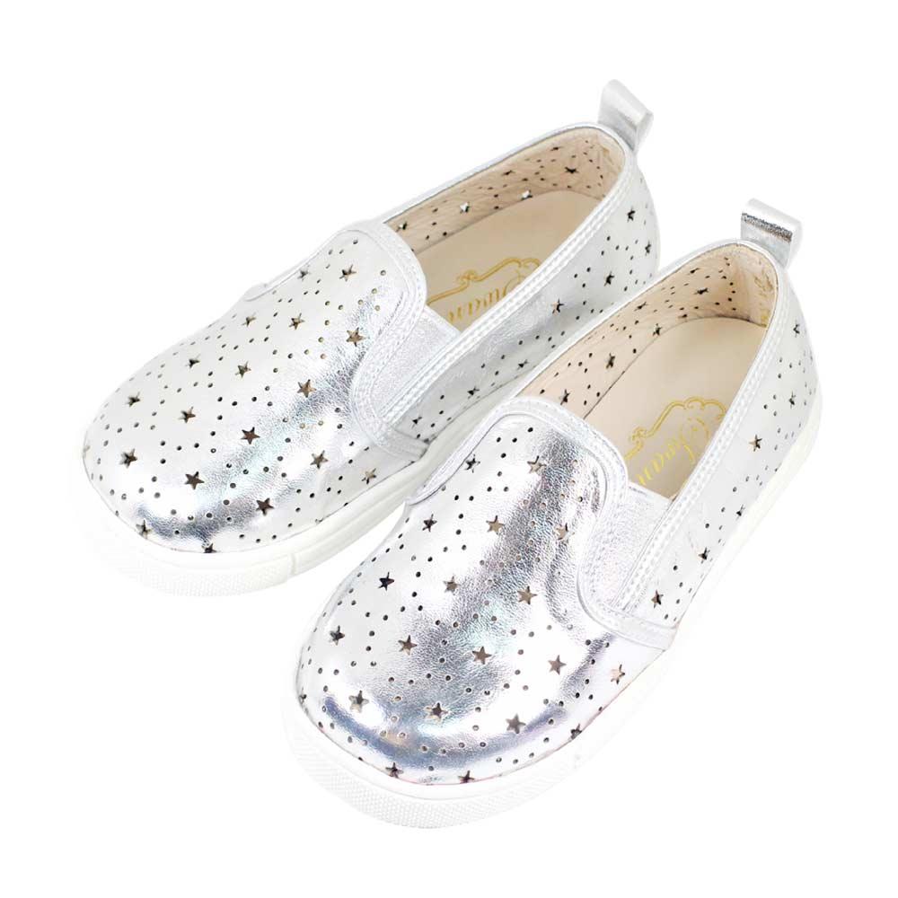 Swan天鵝童鞋-星星雕花摟空親子休閒鞋-寶貝款 3804-銀