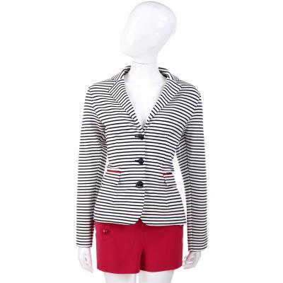 MOSCHINO 黑白色排釦設計條紋西裝外套