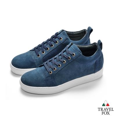 TRAVEL FOX(男)  牛反毛皮休閒鞋-藍