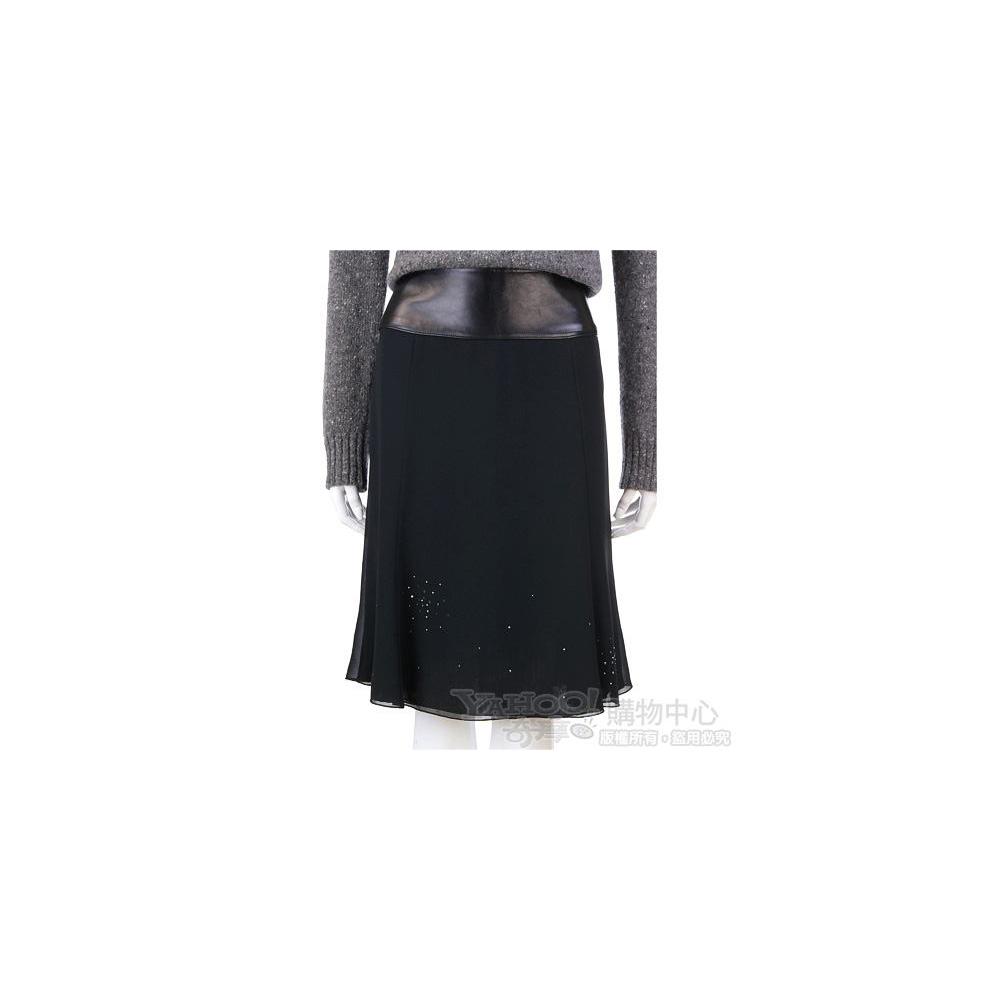 G.I.O.I 黑色皮革拼接紗質及膝裙
