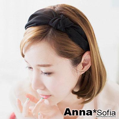 【2件7折】AnnaSofia 側單結光感牛奶絲 韓式寬髮箍(酷黑系)