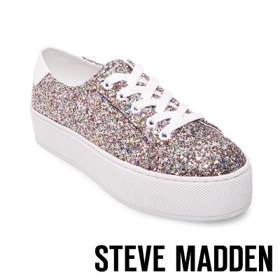 STEVE MADDEN-FELECIA-GLITTER 綁帶厚底鞋-璀璨銀