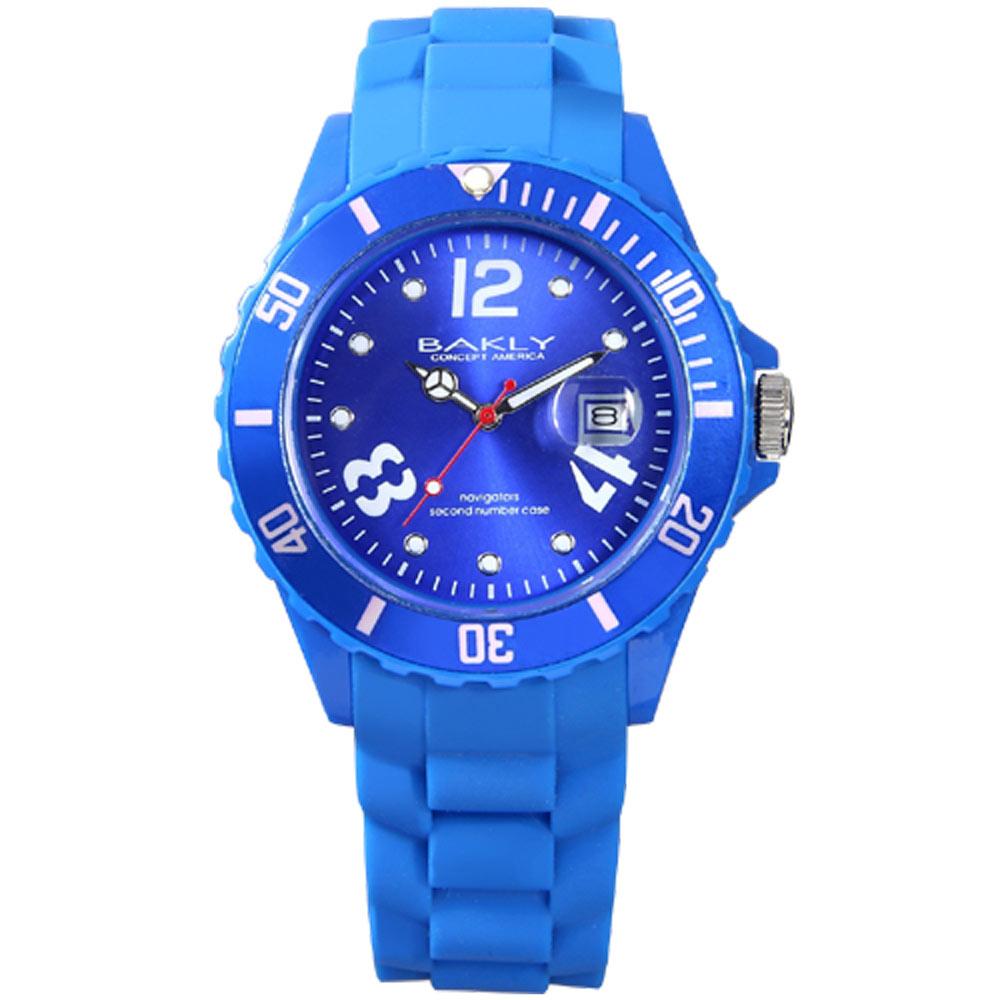 BAKLY 彩艷亮麗人生日期時尚腕錶-藍/43mm
