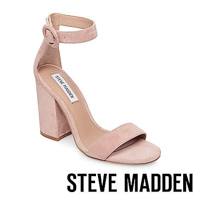 STEVE MADDEN-FRIDAY 一字帶圓釦繫踝粗高跟涼鞋-麂粉