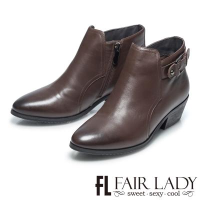 Fair Lady 都會時尚俐落扣環真皮短靴 咖啡