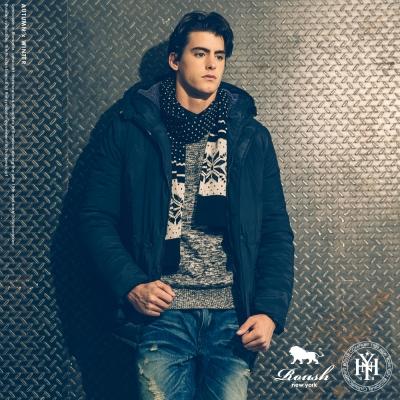 Roush 韓版高領多口袋設計鋪棉長大衣 (2色)